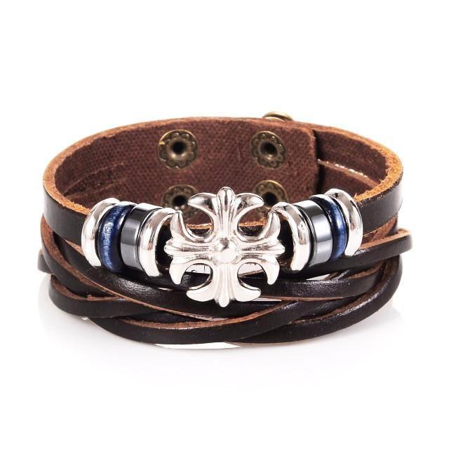 Cross Charm Cuff Leather Bracelet