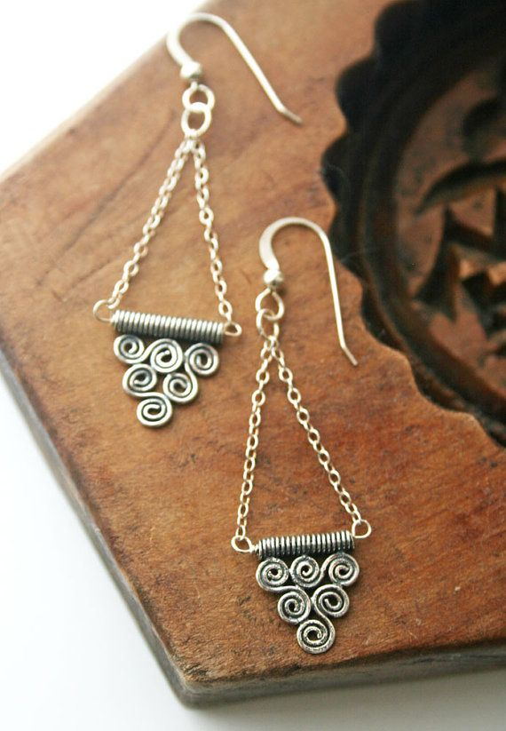 Tribal Jewelry Aztec Jewelry Sterling Silver by laurastark on Etsy, $42.00