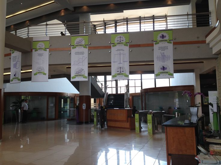 Hanging banner for the Outsurance values
