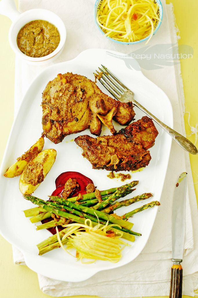 Indonesian Yellow Spiced Grilled Lamb Chop with Mango rujak (salad)