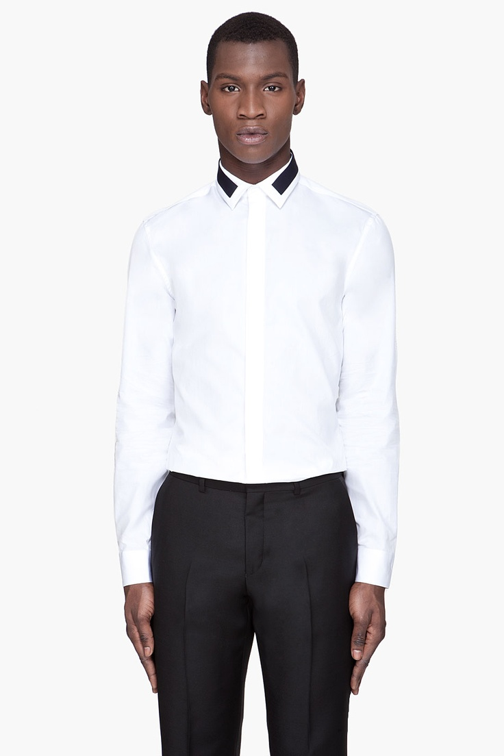 GIVENCHY White Contrast-Collared Slim Shirt