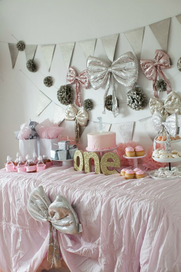 Girl first birthday party pink and gold girl first for Baby girl birthday party decoration ideas