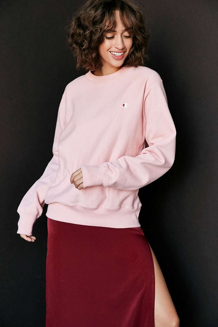 Champion + UO Reverse Weave Pullover Sweatshirt (pink & slate)