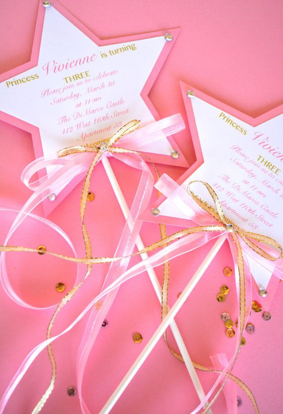 12 Custom Printed Princess Wand Invitations by EatPlanLoveShop
