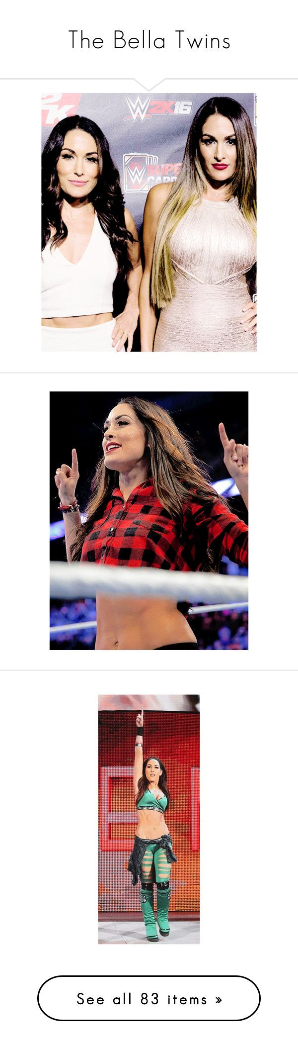 """""""The Bella Twins"""" by amysykes-697 ❤ liked on Polyvore featuring jewelry, rings, divas, the bella twins, wwe, tops, blue top, red top, brie bella and home"""