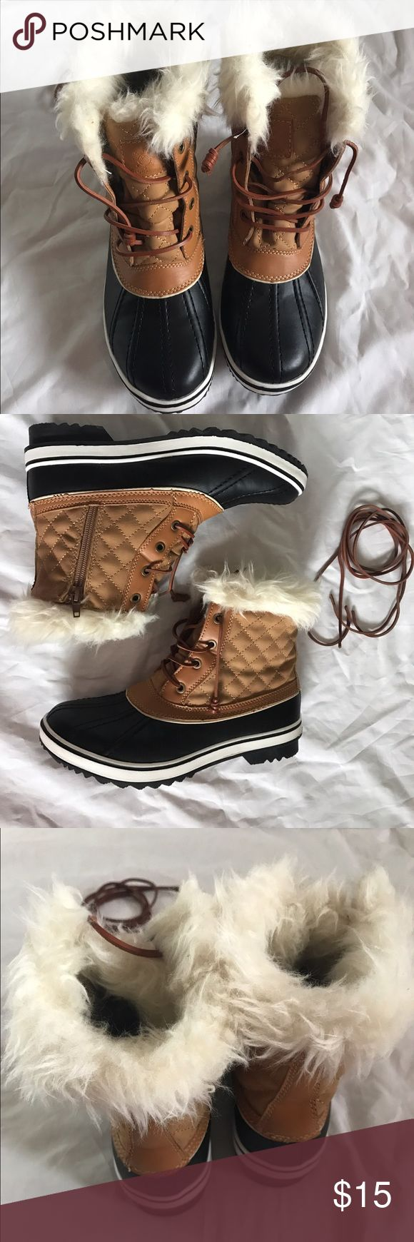 Winter Snow Boot These gorgeous snow boots will go with anything. They have never been worn and feature neutral colors with suede laces. These boots look great with jeans or tights. Both boots have a side zipper. Shoes Winter & Rain Boots