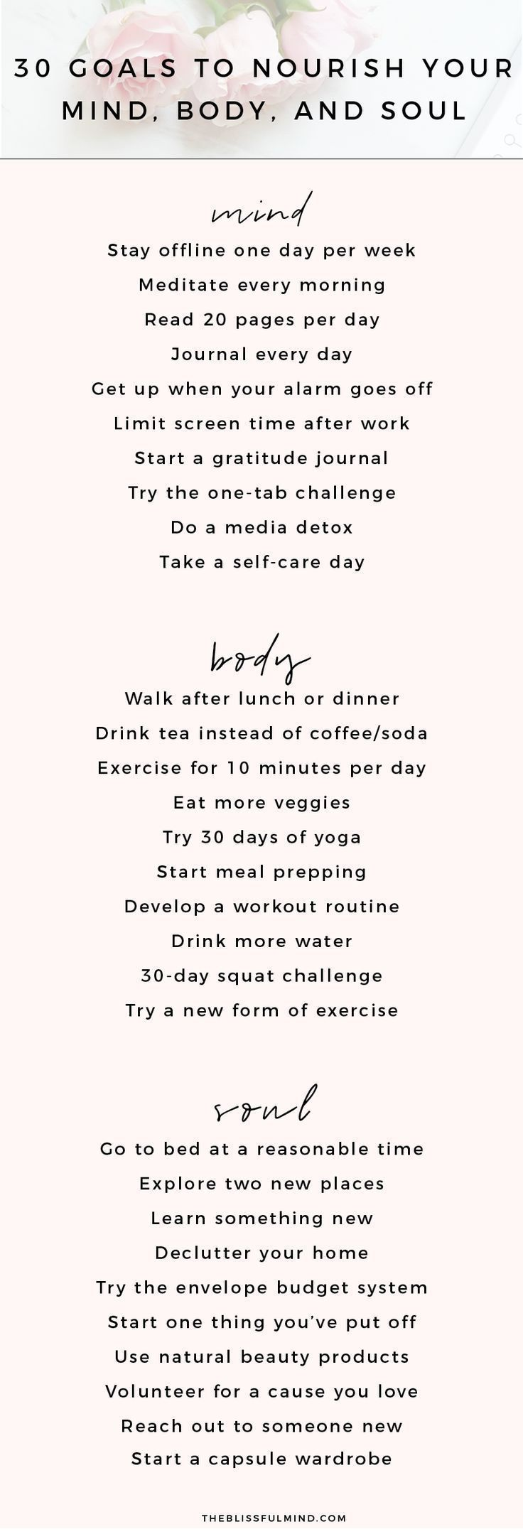 30 Goal Ideas To Nourish Your Mind, Body, and Soul