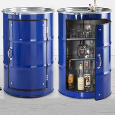 recycled oil barrels turned into mini bar - I recently featured an article on recycled materials for a practical kitchen and showed an oil barrel turned into a storage cabinet. German design group Lockengeloet have taken the idea of recycling oil barrels to a new level, with a range of oil barrels that can be used as a storage cabinet, a mini bar, and even a media centre. - See more at: http://www.home-dzine.co.za/crafts/craft-drum-cabinet.htm#sthash.W2Npydmj.dpuf
