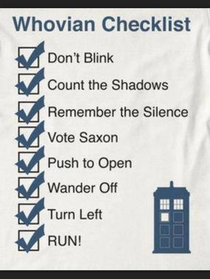 A very important checklist for every Whovian