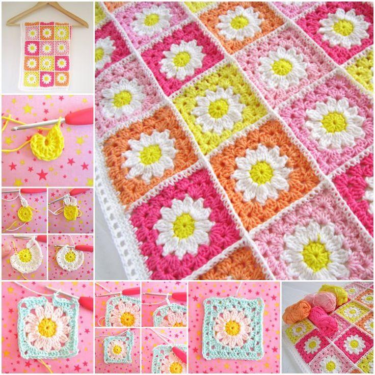FREE PATTERN for Crochet Daisy Flower Blanket --> http://wonderfuldiy.com/wonderful-diy-crochet-flower-granny-squares/ #diy #crochet #freepattern
