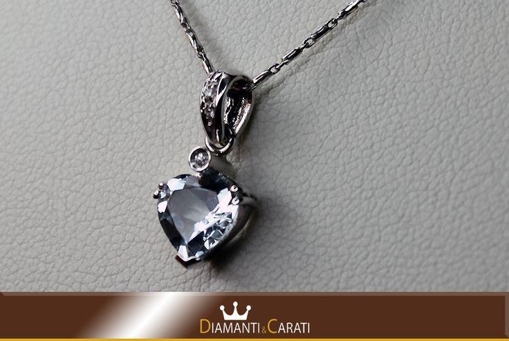 Collana Oro Bianco e Ciondolo con Diamanti e Acquamarina