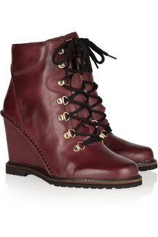DIANE VON FURSTENBERG Sapna lace-up leather wedge ankle boots £290
