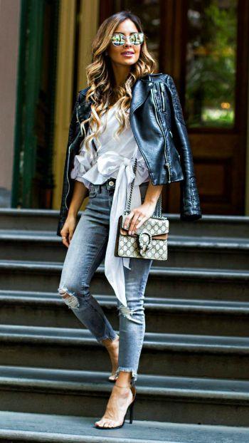 Maria Vizuete + gorgeous leather jacket style + fitted jacket + white blouse + denim jeans + sleek black stilettos + achievable + sleek style.   Blouse: Storets, Jacket: Zara, Jeans: Express, Bag: Gucci, Heels: Public Desire.