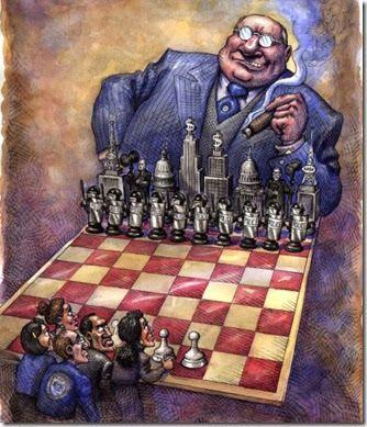 Oligarquia Global = O capitalismo não sobreviverá com uma maquiagem social que dá-lhe aparência palatável enquanto produzir o tipo de civilização dividida entre os ricos que dominam as riquezas mundiais e os despossuídos que vivem num mundo de injustiças e misérias. O primeiro passo para o resgate da soberania é a retomada das decisões globais no âmbito dos governos nacionais eleitos pelo voto dos seus eleitores.