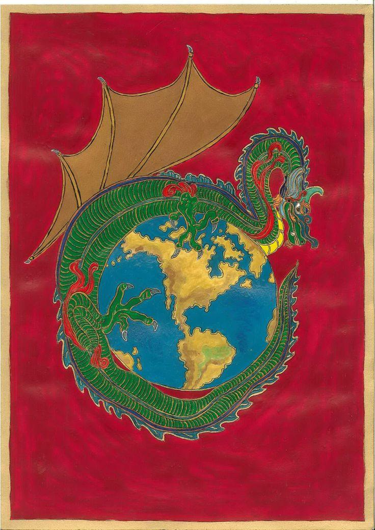 """A Zöld Sárkány megmenti a Földet. Egy nagyon intenzív hatású 2013 dec 5-i álomban felmerült, """"házi feladatként"""" feltétlenül lerajzolandó kép . Az álom Heike Owusu A mandalák világa c.könyv címlapját """"színezte át."""" A földgolyó egy vértengerben sodródott, egy , más álmaimban is megjelenő zöld sárkány felkapta, oltalmazóan ölelte magához és sértetlenül visszatette """"eredeti helyére"""". Az álomnak kapcsolata volt a 2014 tavaszi konstellációkkal is,a képen a sárkány a vértenger fölött repül."""