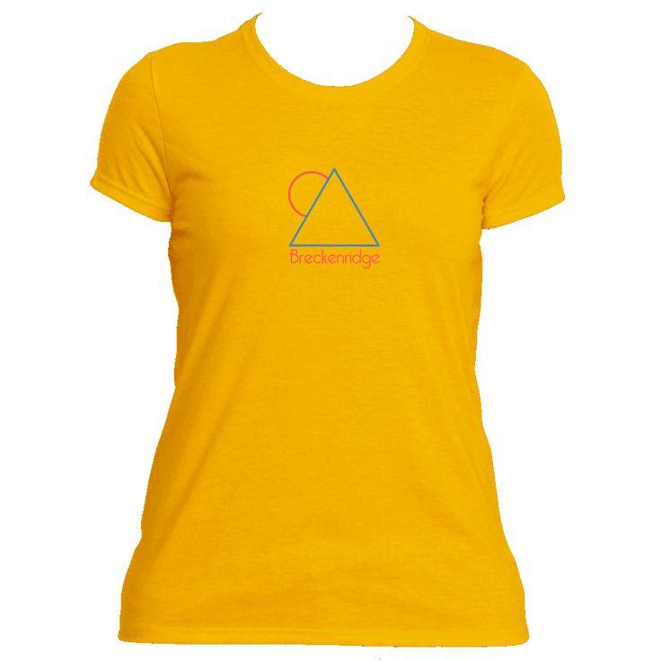 Breckenridge, Colorado Minimal Mountain Sun in Red/Blue - Women's Moisture Wicking T-Shirt