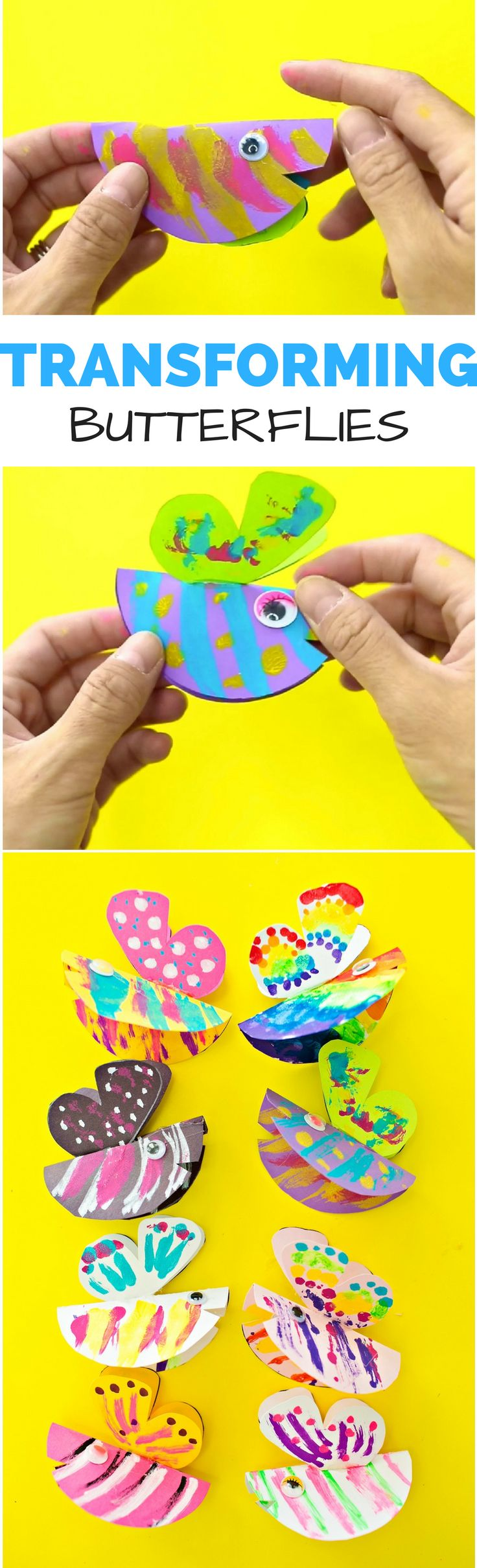 Transforming Paper Butterfly Craft. Kids will love painting symmetrical patterns to make cute caterpillars turn into pretty butterflies. Free template included.