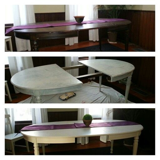 Found this beautiful solid wood table for $12 at Goodwill. A light sand and cream colour paint and voila, transformed!