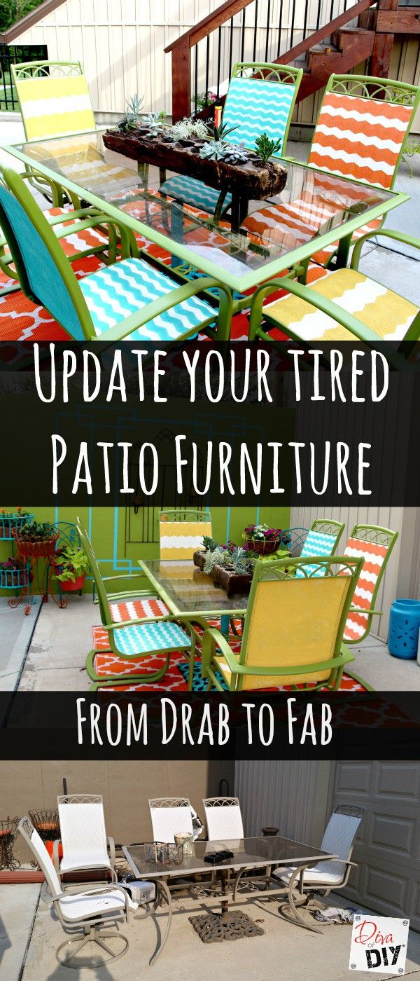 How to Update Your Tired Patio Furniture via @divaofdiy. Get started with a can of Rust-Oleum Ultra Cover 2x in your favorite spring or summer hues: http://spr.ly/64908bZa4.