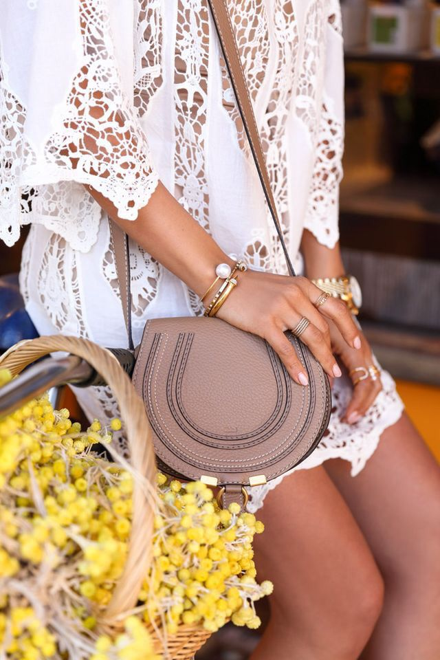 Eyelet dress & Chloe bag.