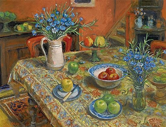 Yellow Tablecloth with Cornflowers (1995) by Margaret Olley...