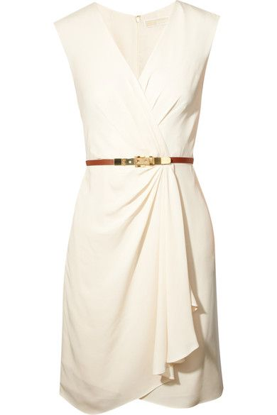 Cream silk-georgette  Wrap-effect front, pleated, detachable tan leather belt, fully lined  Concealed hook and zip fastening at back  100% silk; lining: 100% polyester  Dry clean