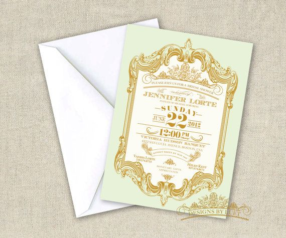 Pink and Gold Bridal Shower - Mint and Gold Baroque Bridal Shower Invitation - Wedding Shower Invitation Cards with Free Envelopes