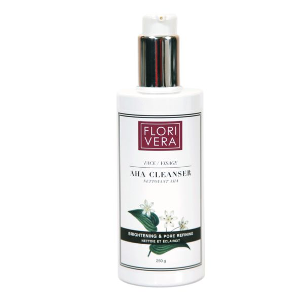 Florivera AHA Cleanser: Oil-free alpha hydroxy gel cleanser infuses skin with a blend of alpha hydroxy gel and tea tree oil, to help detoxify, purify and condition while preserving the skins moisture barrier.  Made in Canada.  250ml.  www.florivera.com  Clarifies and smoothes skin texture. Gentle exfoliation helps to remove dead skin cells. Works to unclog enlarged pores and dissolves impurities. Non-irritating.