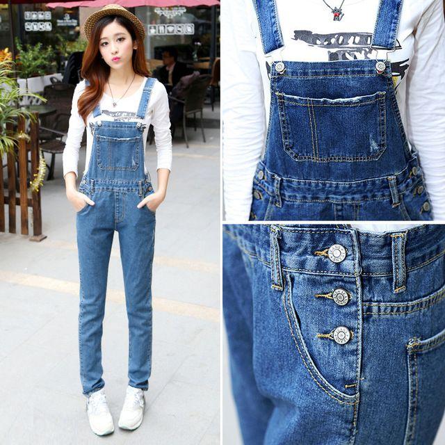 2016 мода тонкий женщины джинсовые брюки комбинезоны эластичный джинсовый нагрудник женские брюки подтяжк комбинезон джинсы Большой размер 5 размер