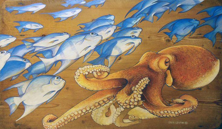 Piovra e pesci dipinto in acrilico su tavola di legno antico.