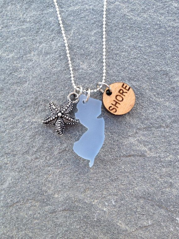 Silver New Jersey Shore Sea Glass Style Necklace