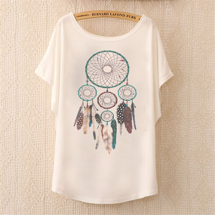 Cheap top t-shirt brands, Buy Quality t-shirt best directly from China top home theater projector Suppliers: 2016 Fashion Women Tops Tees Cute Dream Catcher Printing Cotton T-shirt Women's Short Batwing Sleeve Tshirt on Sale