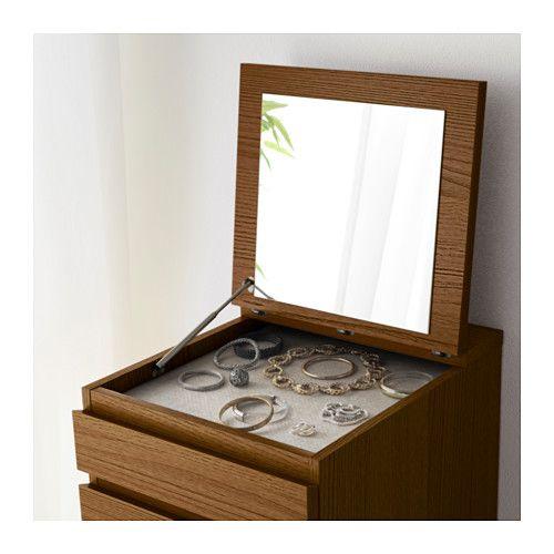 МАЛЬМ Комод с 6 ящиками - коричневая морилка ясеневый шпон/зеркальное стекло - IKEA