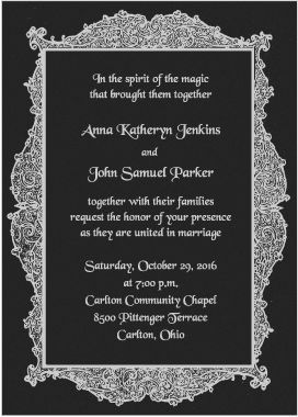 8 best wedding invitation wording images on pinterest halloween black and silver wedding invitation with spring confetti in the envelope in the doily envelopes filmwisefo