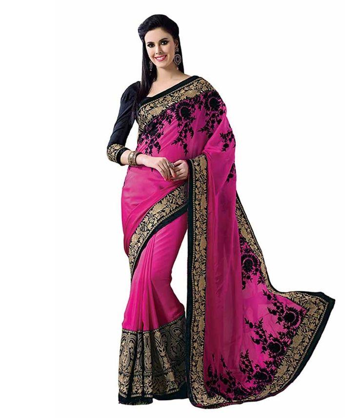 Lovely Pink And Black Satin Chiffon Saree With Blouse Piece..   #Saree #Pink