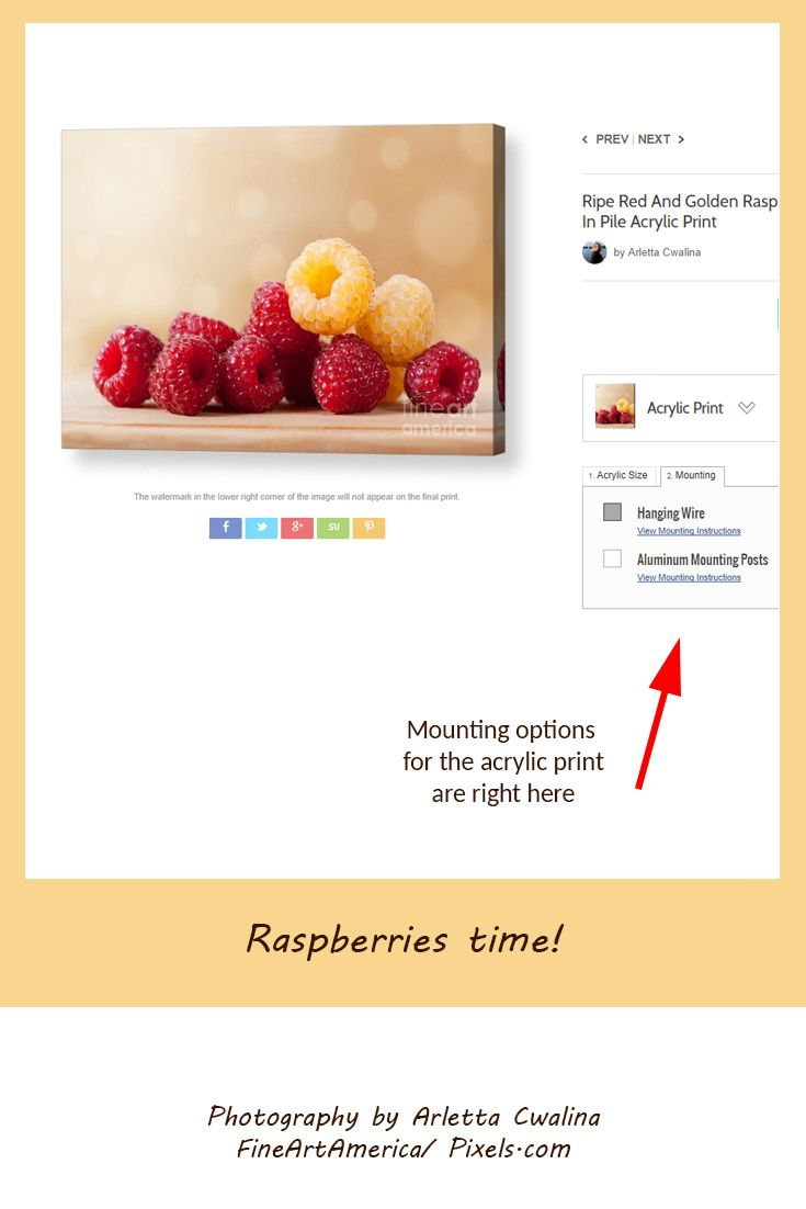 How is the acrylic print mounted?  You can choose: hanging wire or aluminum mounting posts! Photography by Arletta Cwalina/ ariene.pixels.com. See more clothes and home decor ideas and if you love it, feel free to share, maybe your friends would like to have it too :) #homedecor #acrylicprint #raspberries @fineartamerica