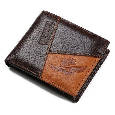 JINBAOLAI Brown Coffee Soft Genuine Cowhide Leather Bifold Wallet Men Wallets Coin Purses Credit Card Wallets billetera hombre