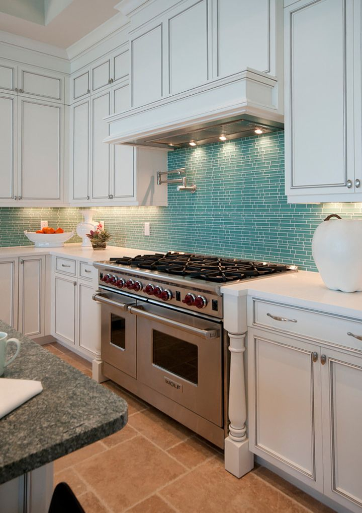 White Cabinets, Stainless Steel Appliances, Turquoise Tile Backsplash, And  Stone Floors! House Of Turquoise: Design Studio By Raymond