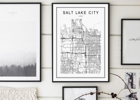 Salt Lake City Map Salt Lake City Utah Map by GalaDigitalPrints