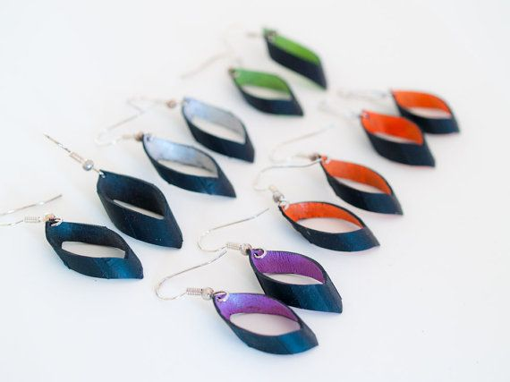 Hand painted Vibrant Upcycled Bike Inner Tube Recycled Earrings -- Many colors available. $9.50, via Etsy.