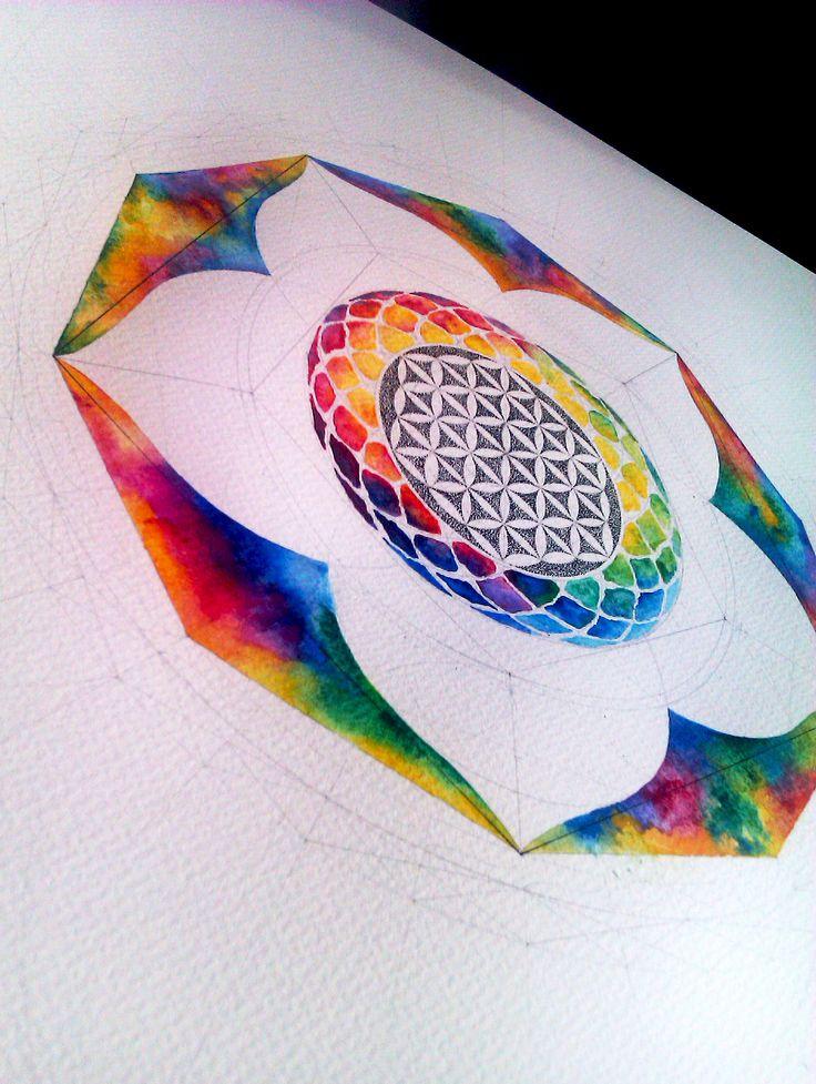 sacred geometry watercolour powerfull