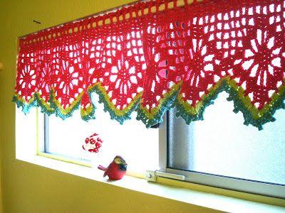 Fun crochet curtains.