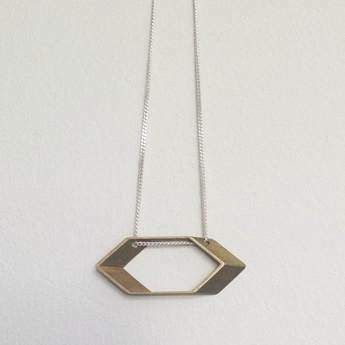 We Heart This - Brass Hexagon Necklace