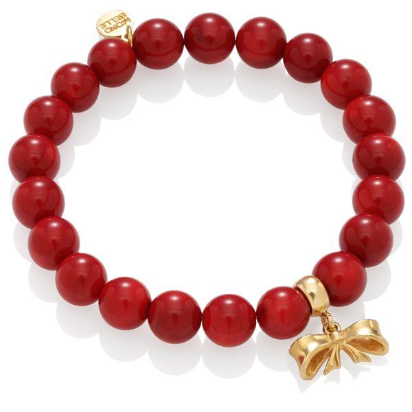 Czerwone koralowce z kokardką #bracelet #fashion #red #gold #love #valentines #jewelry #jewellery #mokobelle