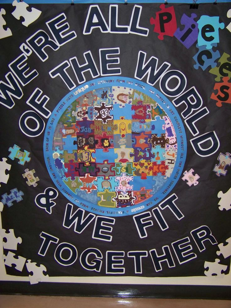 Joint project - 1st grade - Each student paints 2 puzzle pieces.  Essemble puzzle and added a poem about us all being essential pieces of the puzzle fitting together to create something beautiful.
