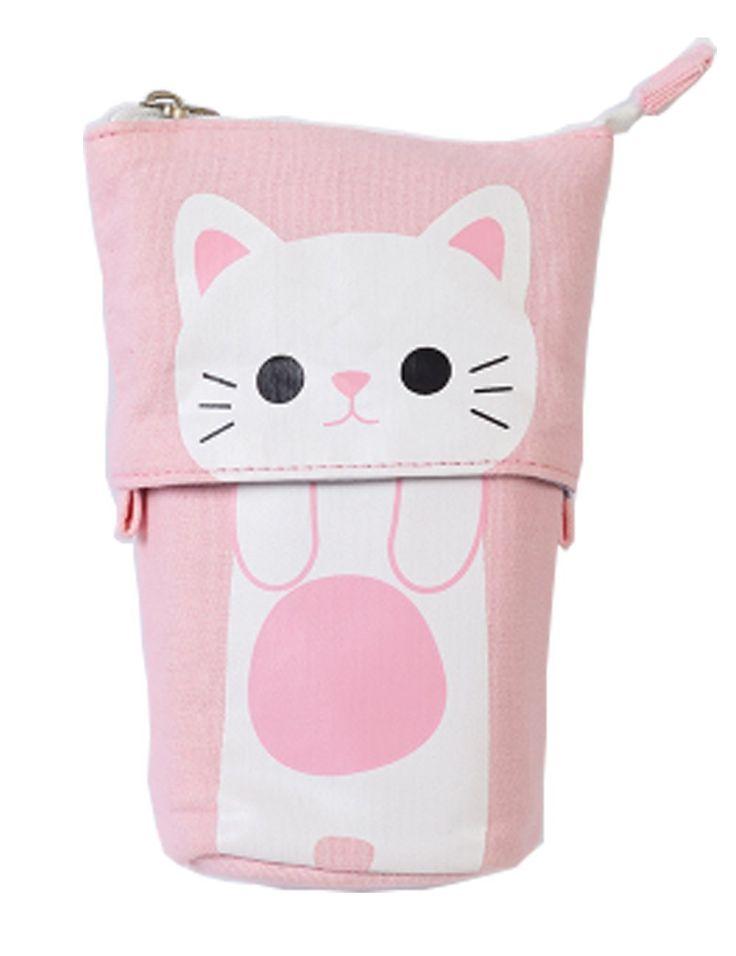 iSuperb soporte estuche Transformer lienzo Pen Bolsa Holder Funda Funny Cute Make Up Bolsa 19 x 12,5 x 7,5 cm, color rosa: Amazon.es: Oficina y papelería