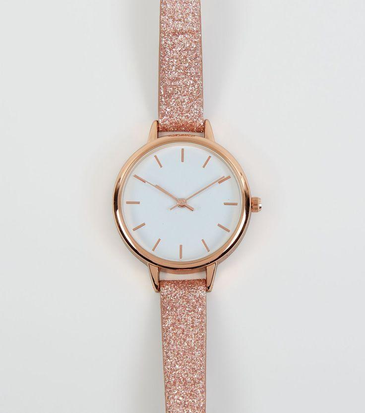 Pink Glitter Skinny Strap Watch | New Look