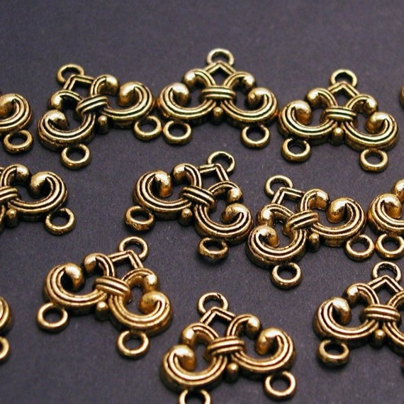 4 Antiqued Gold Plated Pewter Drops Connectors 20mm by jjmjewelry, $3.28