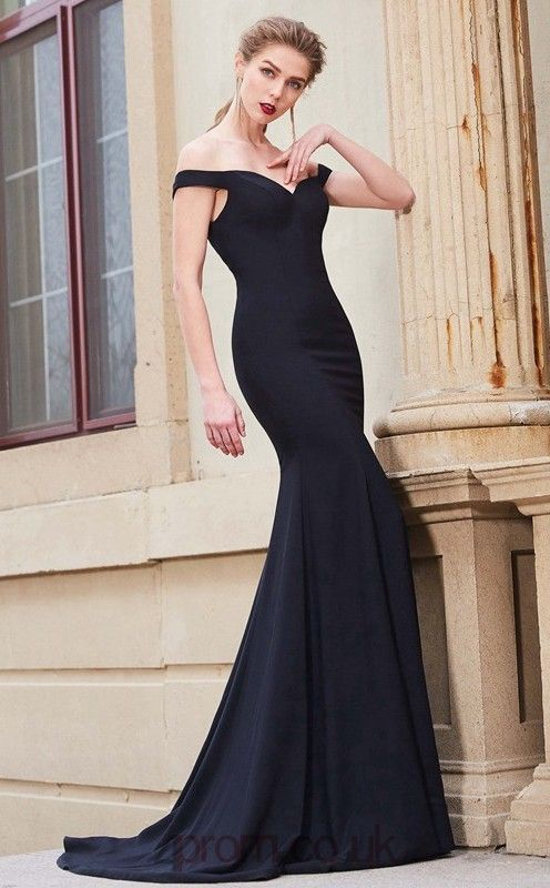 80a6a34b7b1 Trumpet Mermaid Matte Satin Black Off The Shoulder Long Formal Prom Dress (JT2646)