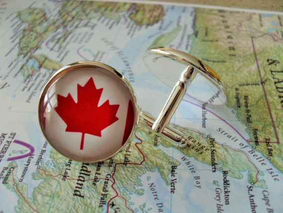 CANADIAN FLAG Cuff Links // Christmas // by BjeweledVintage, $19.95
